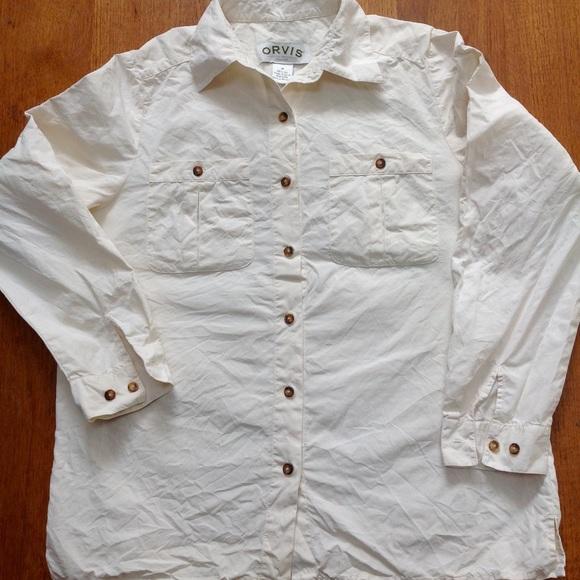 7255fe997079f Orvis 100% silk cream button front ladies blouse